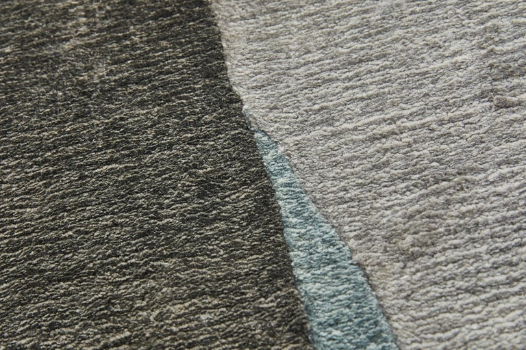 Modern Scape Grey Carpet, Handknotted, Wool, 40 Knots, Constance Guisset For Sale