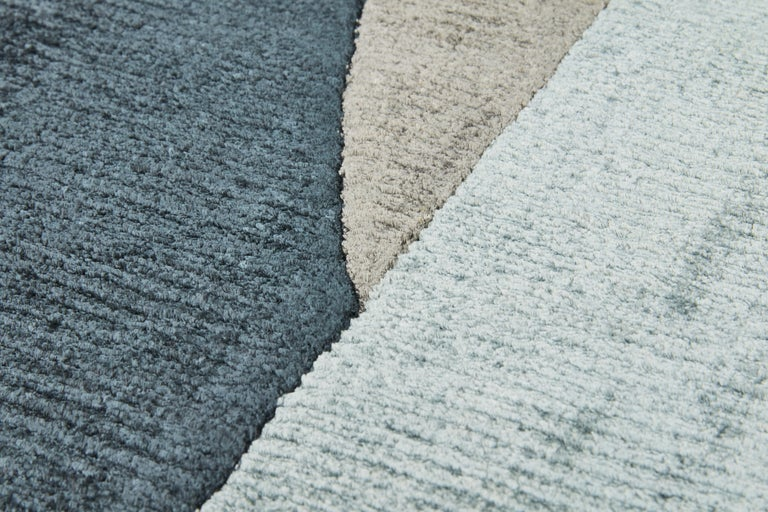 Indian Scape Grey Carpet, Handknotted, Wool, 40 Knots, Constance Guisset For Sale