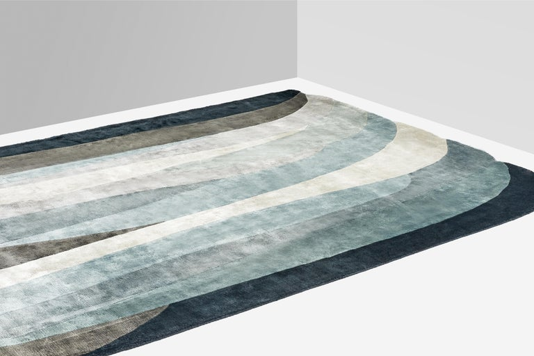 Hand-Knotted Scape Grey Carpet, Handknotted, Wool, 40 Knots, Constance Guisset For Sale