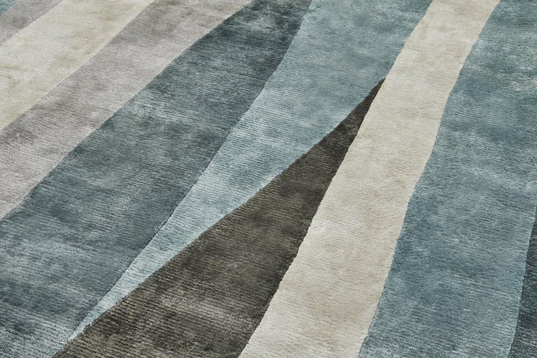 Scape Grey Carpet, Handknotted, Wool, 40 Knots, Constance Guisset In New Condition For Sale In Milan, Lombardy