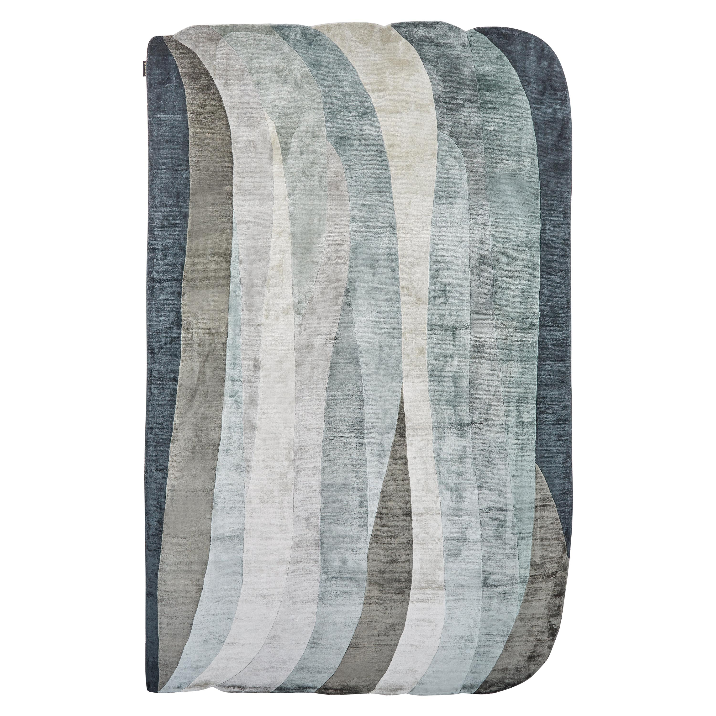 Scape Grey Carpet, Handknotted, Wool, 40 Knots, Constance Guisset