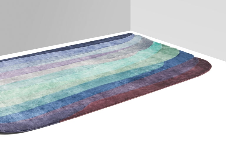 Scape Violet Carpet, Hand Knotted in Wool, 40 Kpi, Constance Guisset In New Condition For Sale In Milan, Lombardy