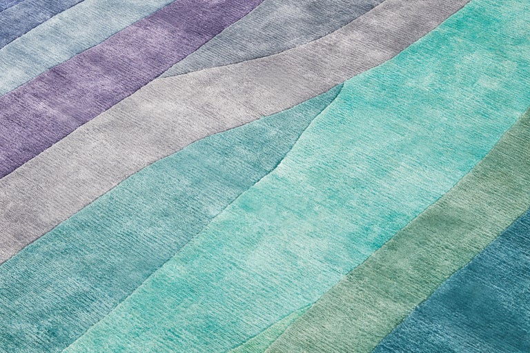 Contemporary Scape Violet Carpet, Hand Knotted in Wool, 40 Kpi, Constance Guisset For Sale