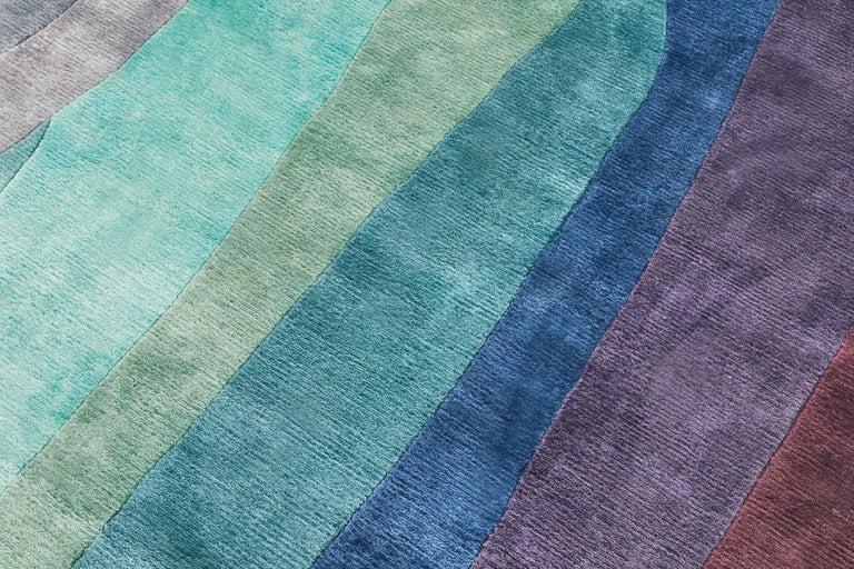 Scape Violet Carpet, Hand Knotted in Wool, 40 Kpi, Constance Guisset For Sale 1