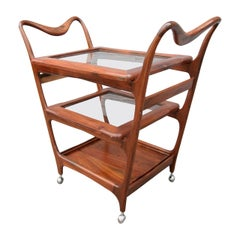 Scapinelli 1960s Brazilian Jacaranda Bar Cart with Three Shelves
