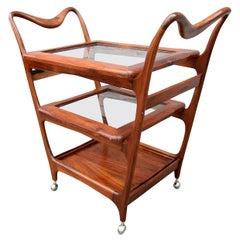 Scapinelli 1960s Brazilian Jacaranda Wood Bar Cart with Three Shelves