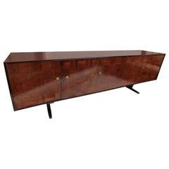 Scapinelli 1960s Brazilian Jacaranda Wood Parquet Sideboard