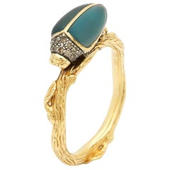 Scarab 18 Karart Gold Hand Carved Blue Topaz and Brown Diamond Stackable Ring