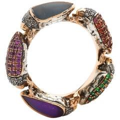 Scarab 18 Karat Gold Diamond Topaz Amethyst Sapphire and Tsavorite Eternity Ring