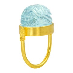 Scarab Amulet Blue Aquamarine 22 Karat Yellow Gold Ring