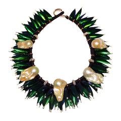 Scarab Cluster Pearl Diamond 18 Karat Gold Necklace