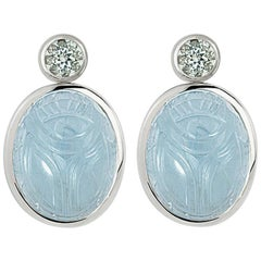 Scarab Earrings 18 Karat Gold 2 Aquamarines 55.12 Carat 2 Tourmalines 2.76 Carat