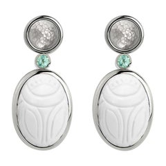 Scarab Earrings 31.66 Carat Cacholong and African Paraiba Tourmalines