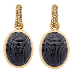 Scarab Earrings in 18 Carat Rose Gold, 2 Onxyes and Cognac Coloured Diamonds