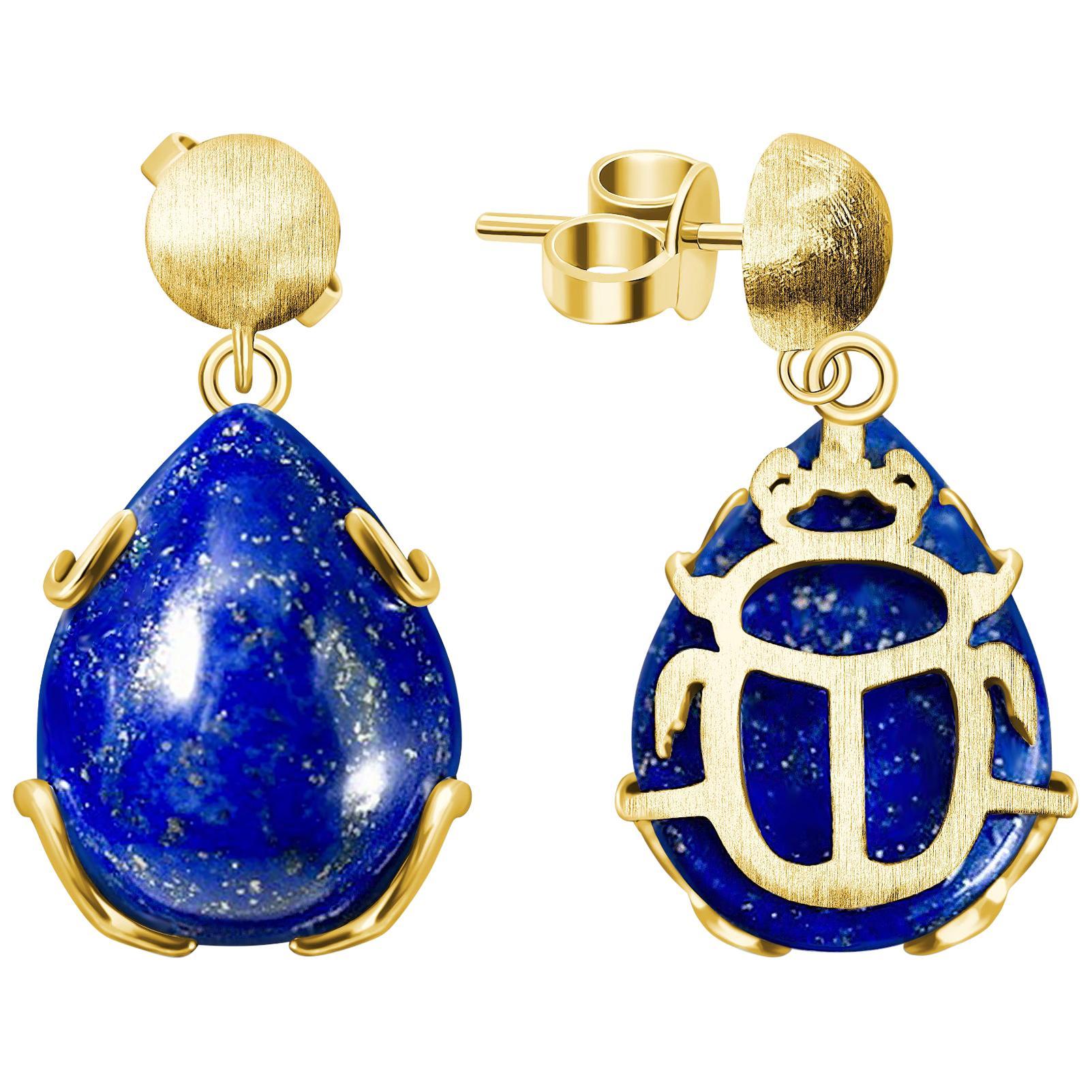 """Scarab"" Egyptian Earrings Afghani Lapis Lazuli 18 Karat Yellow Gold"