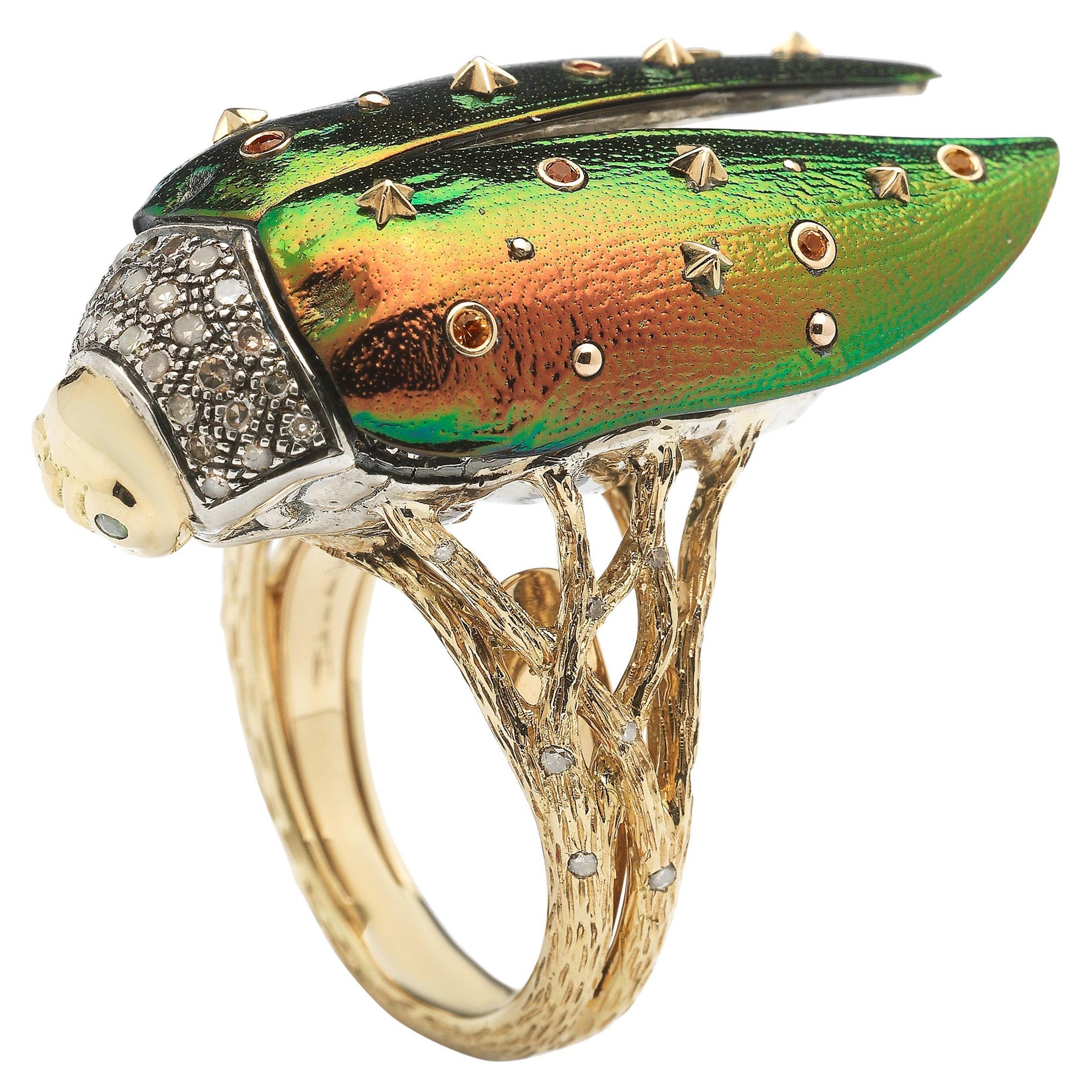 18K Yellow Gold White Brown Diamond Orange Yellow Sapphire Diamond Scarab Ring