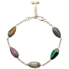 Scarab Multi-Color Gold Bracelet of Diamonds Sapphires Amethyst and Tsavorites