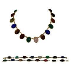 Scarab Multi Stone Necklace Plus Two Matching Bracelets