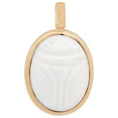Scarab Pendant, 18 Karat Rose Gold, 1 Cacholong 15.90 Carat