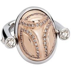 Scarab Ring, 18 Carat White and Rose Gold Set with Diamonds of 1.0 Carat