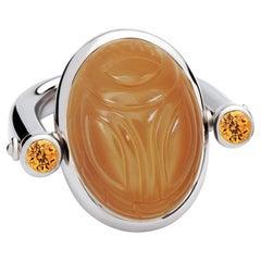 Scarab Ring, 18K White Gold, Moonstone 17.34 Carat, Mandarin Garnets 0.80 Carat