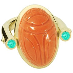 Scarab Ring, 18K Yellow Gold, Coral 31.76 Carat, Paraiba Tourmalines 0.29 Carat