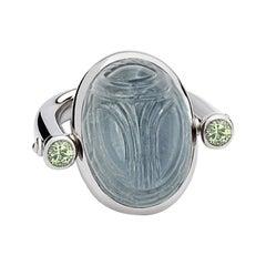 Scarab Ring in 18 Carat White Gold, 1 Tourmaline 23.29Ct, 2 Tourmalines 0.50Ct