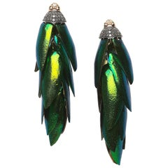 Scarab Wing 18 Karat Gold Sterling Silver Diamond Tsavorite Bunch Earrings