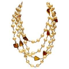 "Scarce Coco Chanel 1994 Fall/Winter Monumental Cream Pearl Necklace ""Sautoir"""