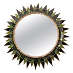 "Scarce Green ""Soleil à pointes"" Convex Mirror by Line Vautrin 'France'"
