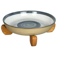Scarce Large Centerpiece Ceramic Bowl & Oak Stand by Jane & Gordon Martz