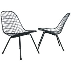 Scarce Pair of First Generation Eames LKX Low Wire Lounge Chairs