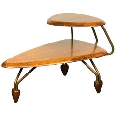 Scarce Sculptural 1950s Side Step Table in Walnut and Brass after John Keal