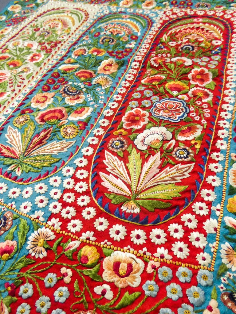 Scarf in Embroidered Pashmina - India for Europe Circa 1830/1860 For Sale 6