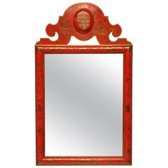 Scarlet Japanned William & Mary Style Mirror