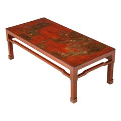 Scarlet Red Lacquered and Gilt Chinoiserie Low Table