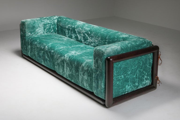 Cornaro sofa by Carlo Scarpa for Simon, turquoise velvet, solid wood, Italy 1973