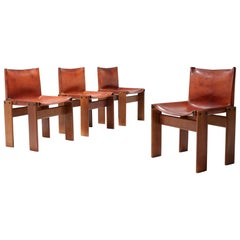 Scarpa 'Monk' Chairs in Patinated Cognac Leather, Set of Four
