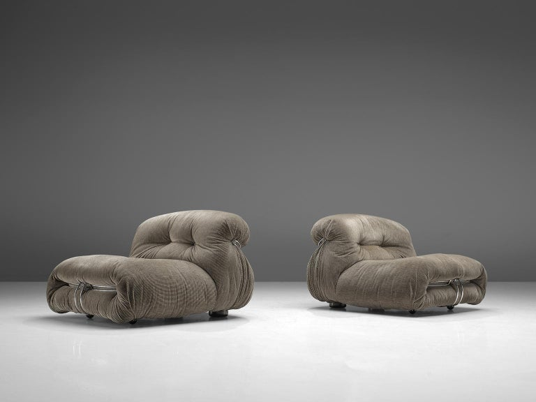 Afra & Tobia Scarpa, pair of 'Soriana' lounge chairs, fabric and metal, Italy, 1969.  Iconic chair by Italian designer couple Afra & Tobia Scarpa, the Soriana proposes a model that institutionalizes the image of the informal sitting where everything