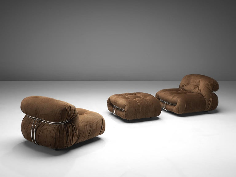 Mid-Century Modern Scarpa Set of 'Soriana' Lounge Chairs with Ottoman in Brown Fabric For Sale
