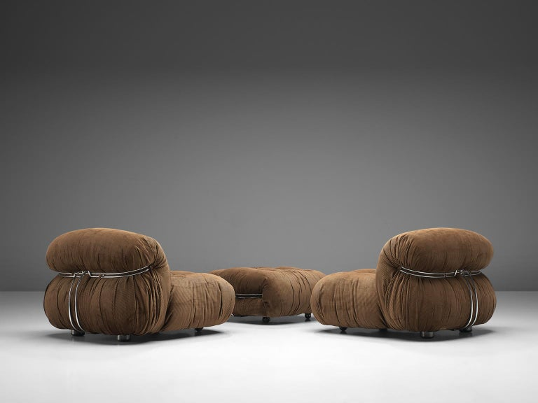 Scarpa Set of 'Soriana' Lounge Chairs with Ottoman in Brown Fabric In Good Condition For Sale In Waalwijk, NL
