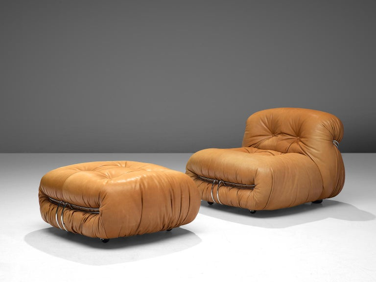 Afra & Tobia Scarpa, 'Soriana' element with ottoman, cognac leather and metal, Italy, 1969.  Iconic chair by Italian designer couple Afra & Tobia Scarpa, the Soriana proposes a model that institutionalizes the image of the informal sitting where
