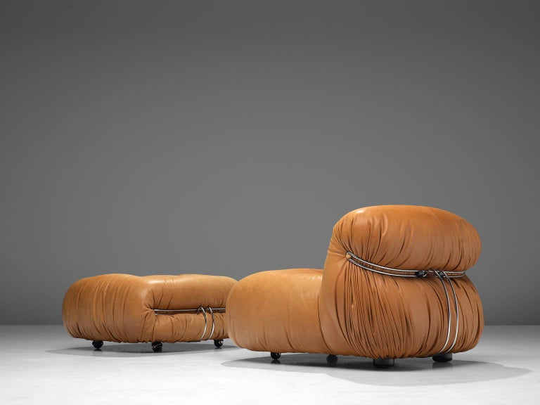 Mid-Century Modern Scarpa 'Soriana' Lounge Chair with Ottoman in Cognac Leather For Sale