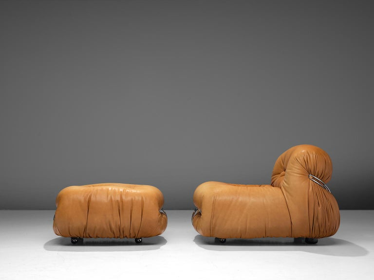 Italian Scarpa 'Soriana' Lounge Chair with Ottoman in Cognac Leather For Sale