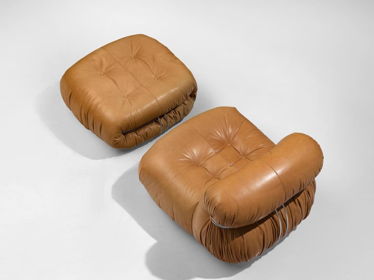 Scarpa 'Soriana' Lounge Chair with Ottoman in Cognac Leather In Good Condition For Sale In Waalwijk, NL