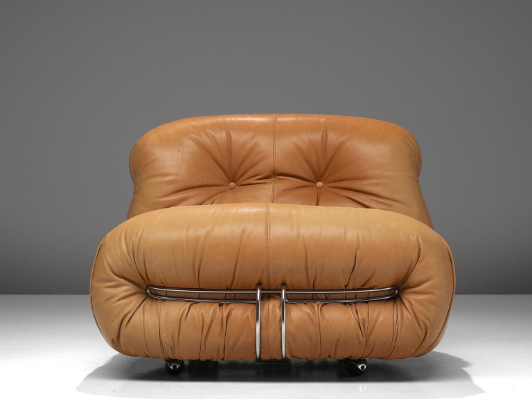 Scarpa 'Soriana' Lounge Chair with Ottoman in Cognac Leather For Sale 1