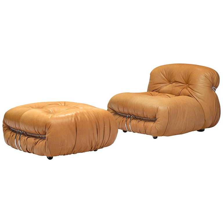 Scarpa 'Soriana' Lounge Chair with Ottoman in Cognac Leather For Sale