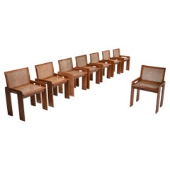 Scarpa Style Italian Dining Chairs in Walnut and Cane Seating