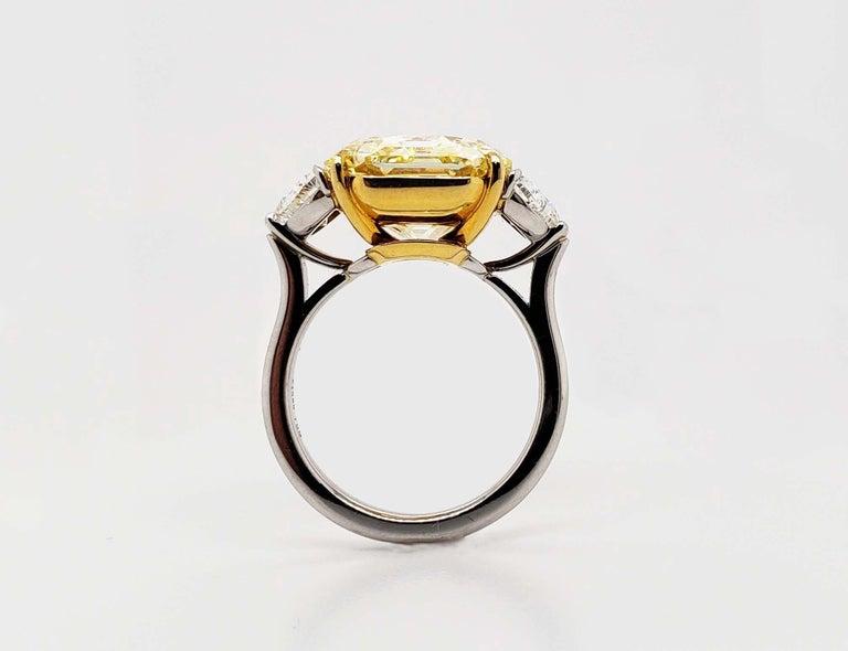 Radiant Cut Scarselli 10 Carat Fancy Intense Yellow Internally Flawless Radiant Diamond Ring For Sale