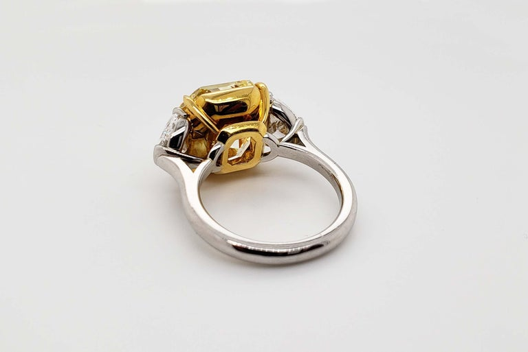 Women's Scarselli 10 Carat Fancy Intense Yellow Internally Flawless Radiant Diamond Ring For Sale